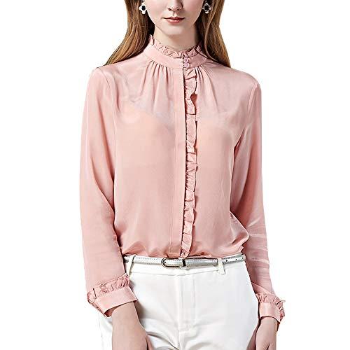 Valin V6576 - Blusa para mujer 100 % seda, cuello alto, manga larga, ajustada, de seda Rosa. 46