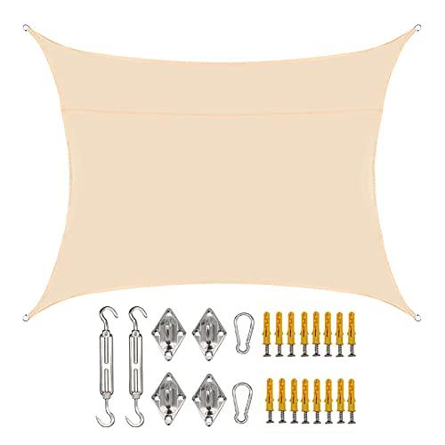 Toldo rectangular de 2 x 3 m, impermeable, rectangular, para patio, patio, incluye kit de fijación