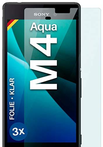 moex Klare Schutzfolie kompatibel mit Sony Xperia M4 Aqua - Bildschirmfolie kristallklar, HD Bildschirmschutz, dünne Kratzfeste Folie, 3X Stück