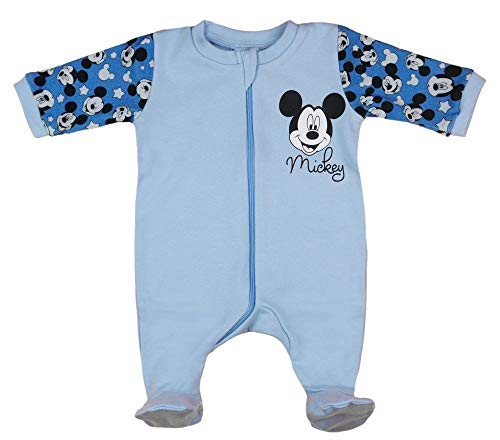 Jungen Baby-Strampler Schlafoverall Langarm mit Fuß Baumwolle Mickey Mouse GRÖSSE 68 74 80 86 Blau Baby-Schlafanzug, Neugeborene, 6 9 12 Monate, Geschenk Disney Größe 86