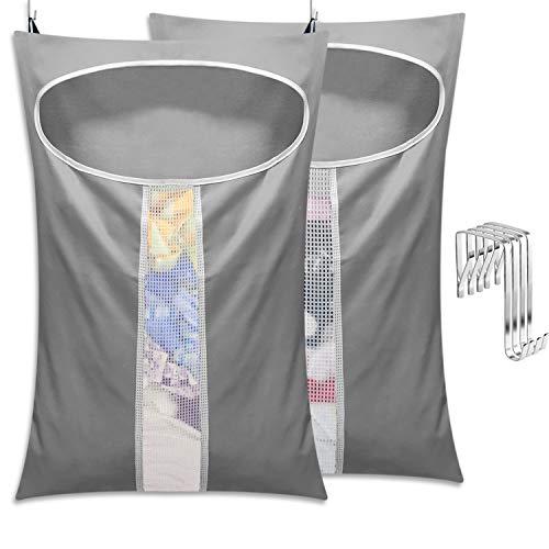 LAMTWEK 2 Stück Hängen Schmutzige Kleidung Spielzeug Aufbewahrungstasche, Groß mit Kordelverschluss, Oxford Wäschesammler Faltbare Aufbewahrungsbeutel Waschbar, Schmutzige Kleidung Tasche für Reisen