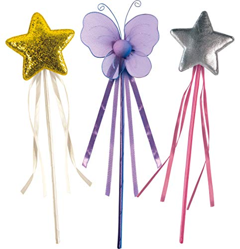 OLYPHAN Princess Wand Kit for Girls  Magical Toy Wands for Dress Up, Halloween Costume, Magic Shows, Cosplay, Birthday Party & Baby Showers, Purple Butterfly & Multi Rainbow Color Star Wands