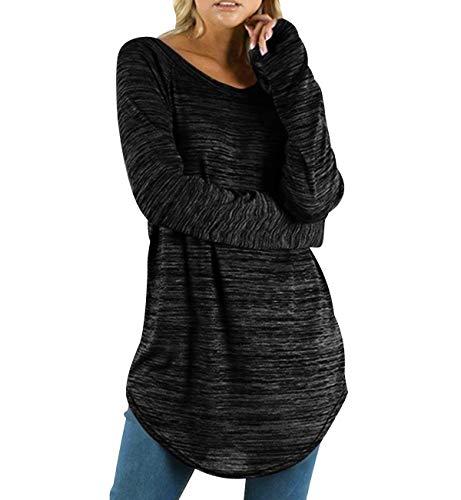 Camisetas Manga Larga Mujer Oversize Largas Camiseta Basica Tops Tunica Playeras Anchas Jersey Camisa Blusa Túnica Tunicas Poleras Camisas Señora Blusas Tallas Grandes Casual Deportivas Gris XL