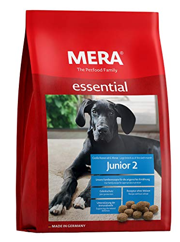MERA essential Hundefutter > Junior 2 < Für Junghunde großer Hunderassen ab dem 6. Monat - Trockenfutter mit Geflügel - Ohne Weizen & Zucker (12,5 kg)