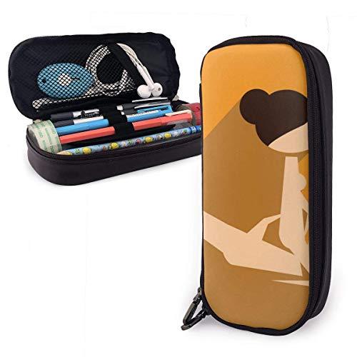 Schreibwaren Tasche,Flat Web Icon Mit Long Shadow Kamasutra Leder Federmäppchen, Hochwertiger Kugelschreiberbeutel, Federmäppchen Für Schulkinder 20X9X4Cm