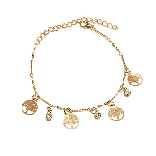 Dolphin Heart Love Tassels Anklet Bracelet for Women Boho Crystal Tree of Life Beach Foot Chain Jewelry Gold Plated Girls Teens (Tree)