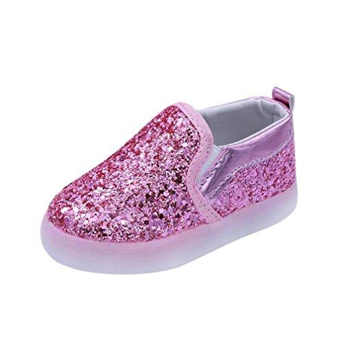 URSING Baby Unisex Mädchen Junge Bling Mode Turnschuhe LED leuchtet niedlich Kinder Kleinkind Beiläufig Bunt Licht Schuhe tolles Geschenk (21, Rosa)