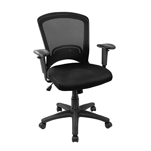 Hylone Office Chair Computer Desk Chair Mesh Task Chair Swivel, Adjustable Arms, Lumbar Support, Adjustable Height, Rocking, Comfortable Rolling Mid-Back Home Office Desk Chair, Black