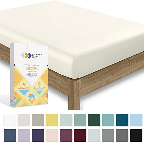 Premium Luxe Series 400 TC Cotton 1 Pc Fitted Sheet Only, Soft Lightweight and Breathable Best Bedding Sheet on Amazon - Deep Pocket Fits Low Profile Foam and Tall Mattresses (Queen Size, Ivory)