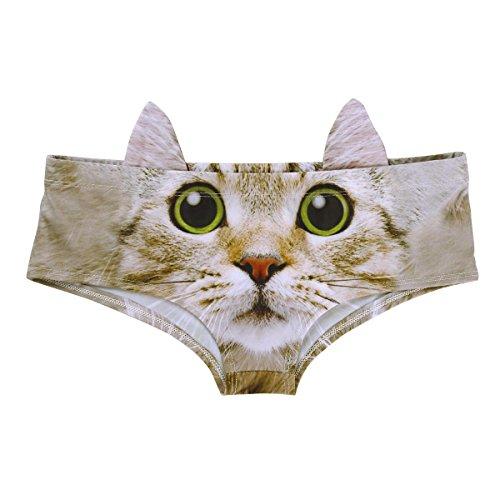 YiZYiF Damen 3D Digital Tierdruck Slips mit Ohren Taillenumfang Hipster Unterwäsche Hunden/Katzen Bikinislips Panties Stil A One Size