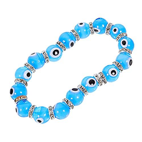 Holibanna Pulsera de Cuentas Turcas con Cuentas de Cristal para Proteger Amuleto de Ojo Malvado Turco Cadena de Muñeca Pulseras Griegas Azul