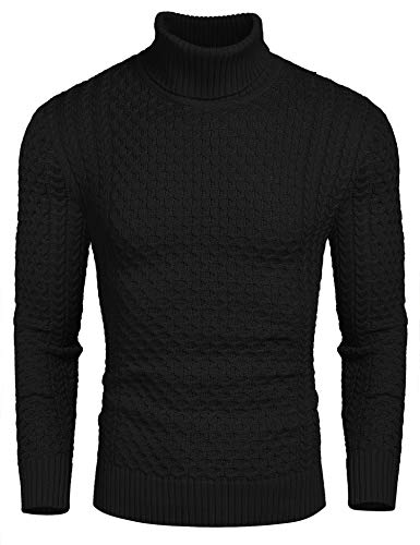 Coofandy Rollkragen Herren Strickpullover Pullover Slim Fit Winter Basic Sweater Mischen, Schwarz, S