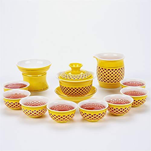 DONG Chinas High-End-Tee-Set Jingdezhen-Keramik-Kung-Fu-Tee-Set Bienenstock-Hohldeckel-Schüssel-Linglong-Cup-Farbglasur-Ursprung-Versorgungsmaterial,B