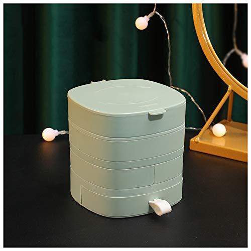 Subsky - Caja organizadora de joyería, Estuche de Almacenamiento de joyería con 4 Capas, Organizador Giratorio de joyería, Soporte para Collar, Pulsera, Anillo, Pendiente, Gemelos Dama (Green)