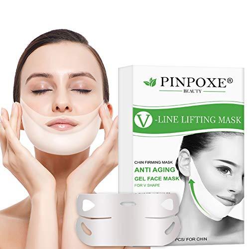 V Face Mask, Double Chin Reducer, Mascarilla Reafirmante Facial, Mascarilla Adelgazante, 4D Forma V Oreja Colgada Pasta Hidrogel Reparadora Facial Barbilla Levante La Máscara Anti Arrugas