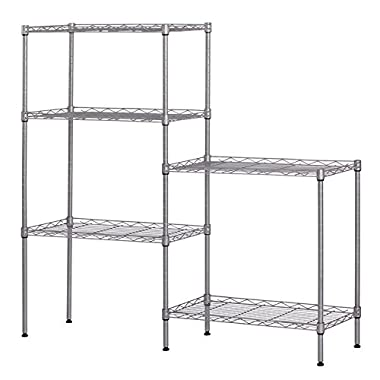 5 Tier Wire Shelving Metal Storage Shelves Heavy Duty Adjustable Shelf Standing for Laundry Bathroom Kitchen Pantry Closet 22 x12 x60  (Silver)