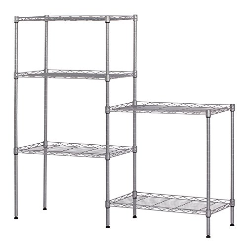 Changeable Assembly Floor Standing Carbon Steel Storage Rack Multipurpose Shelf Display Rack for Kitchen Garage Bedroom Storage Display Shelves