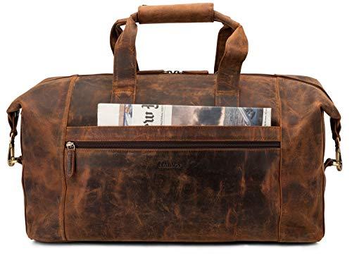 LEABAGS Dubai Reisetasche Handgepäcktasche Sporttasche aus echtem Leder im Vintage Look - Rouge