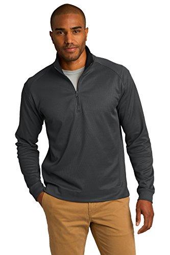 Port Authority® Vertical Texture 1/4-Zip Pullover. K805 Iron Grey/ Black 2XL