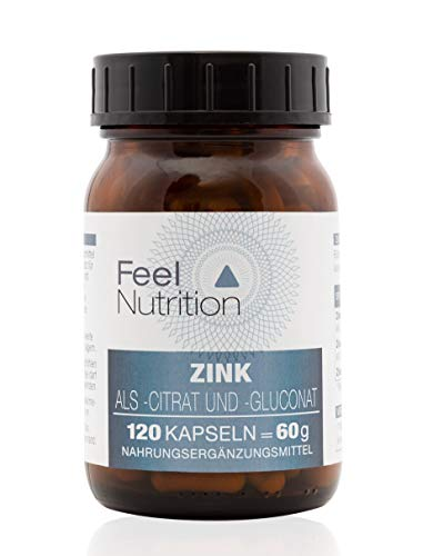 FeelNutrition Zink Kapseln hochdosiert als Zinkcitrat & Zinkgluconat - IM GLAS, OHNE WEICHMACHER - Pro Kapsel 10 mg ELEMENTARES Zink - OHNE Magnesiumstearat - Optimale Bioverfügbarkeit - 120 Kapseln