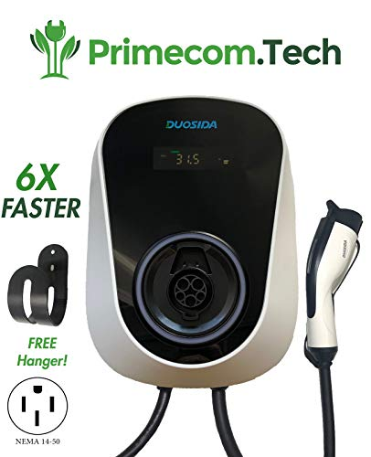 PRIMECOM 32Amp Smart Electric Vehicle (EV) Wall Charging Station - Level 2 EVSE- 240 Volt- 32 Amp Electric Car Charger, Plug-in Station, 20 ft. end-to-end:16'+4' Cable (14-50P) for Tesla Wall-Charger