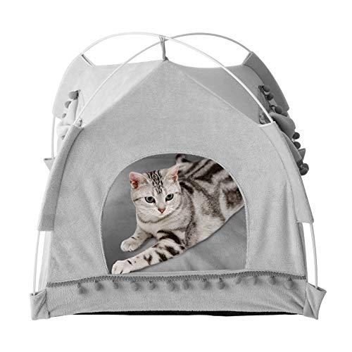 Laamei - Tenda per gatti, cuccia per animali domestici, portatile, per uso estivo, per cani e gatti, con cuscino rimovibile, colore: grigio medio