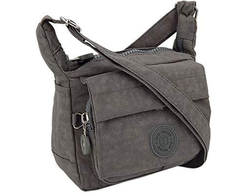 Moderne und zugleich sportliche Damen-Handtasche kleine Umhängetasche aus hochwertigem wasserabwesendem Crinkle Nylon (Grau)
