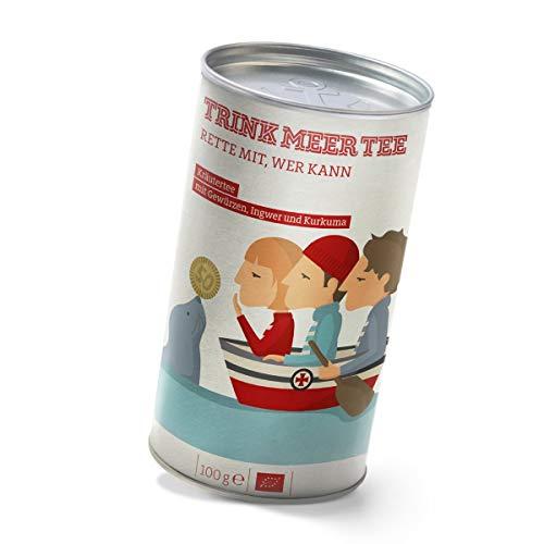 Trink Meer Tee RETTE MIT, WER KANN - Bio-Kräutertee | hocharomatisch | Bio Tee mit Ingwer, Kurkuma und Gewürzen | 50 Cent an DGzRS | loser Tee in hübscher Teedose | 100g