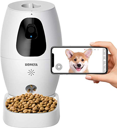 Smart Pet Camera with Treat Dispenser & Tossing, Dog Cat Camera, 2.4G WiFi, 720P Night Vision Camera, Live Video, 2 Way Audio Communication Designed for Dogs and Cats (HONGSA Pet Camera)