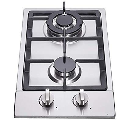 """12"""" Gas Cooktop, 2 High Efficiency Burners Drop-in Propane/Natural Gas Cooker, Stainless Steel Gas Stove, LPG/NG Dual Fuel Gas Hob, Easy to Clean for RVs Home, Apartments, Outdoor"""