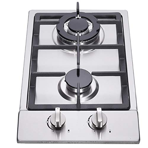12' Gas Cooktop, 2 High Efficiency Burners Drop-in Propane/Natural Gas Cooker, Stainless Steel Gas Stove, LPG/NG Dual Fuel Gas Hob, Easy to Clean for RVs Home, Apartments, Outdoor