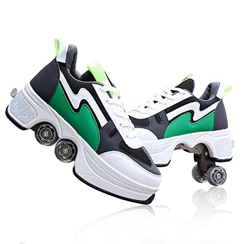 TAOXUE Deformation - Zapatos de patinaje para mujer, zapatos de patinaje automáticos para adultos y niños, zapatos retráctiles con ruedas de doble fila