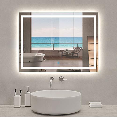 Xinyang Miroir de Salle de Bain Miroir de courtoisie avec éclairage LED et antibuée 80x60cm réversible IP44 Commande par effleurement