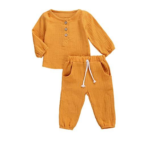 Kleinkind Baby Mädchen Jungen Shorts Set Sommer Outfit Baumwolle Leinen Ärmellos Button Down T-Shirt Top Kurze Hose Einfarbige Kleidung (C-Yellow, 3-4 Years)