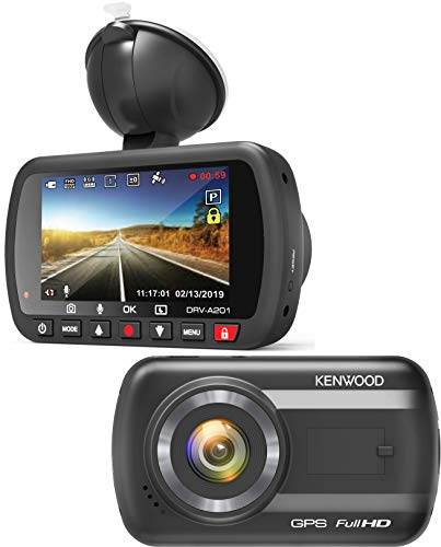Kenwood DRV-A201 Full-HD-Dashcam mit 3-Achsen G-Sensor und GPS, inkl. 16GB Micro SD-Karte