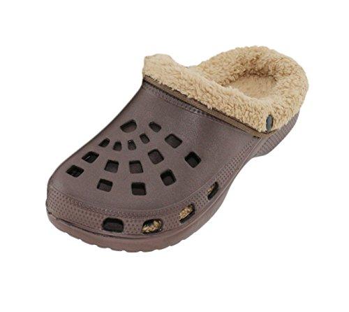 Brandsseller Herren Clogs Pantoffel Schuhe Gartenschuhe Hausschuhe gefüttert Slipper - Farbe: Braun/Beige - Größe: 41