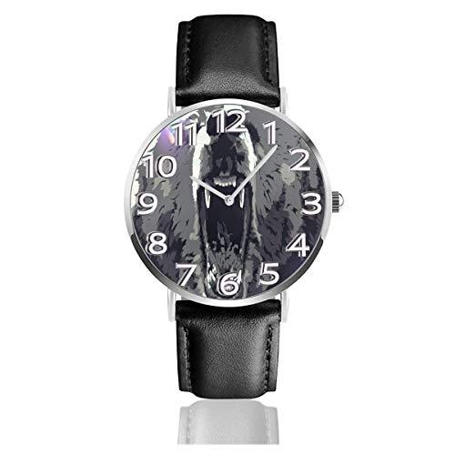 Reloj de Pulsera Angry Bear Art Durable PU Correa de Cuero Relojes de Negocios de Cuarzo Reloj de Pulsera Informal Unisex