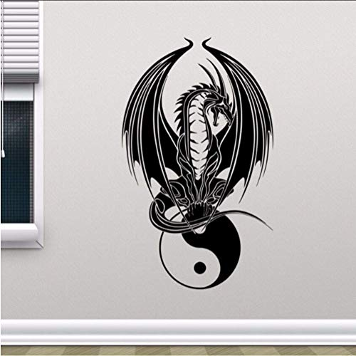 Dragon Yin Yang Wandtattoo Schlafzimmer Yoga Kunst Wandplakat Home Schlafzimmer Dekoration Abnehmbare Vinyl Dragon Symbol Wandaufkleber 35 * 57Cm