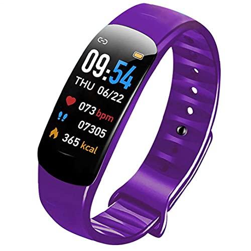 Tuimiyisou Detección de presión Inteligentes de Sangre del Ritmo cardíaco Inteligente Pulsera Pulsera de la Aptitud púrpura Rendimiento confiable