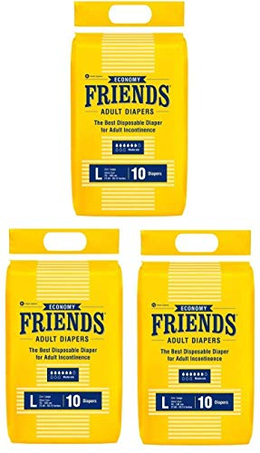 Friends Economy Adult Diapers Large Size, Waist 38-60 in, Anti-Bacterial Absorbent Core, 30s VALUE PACK