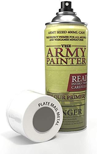 The Army Painter   Colour Primer   Plate Mail Metal   400 mL   Espray Acrílico   Base para Pintura de Modelos Miniatura  Plata Metal