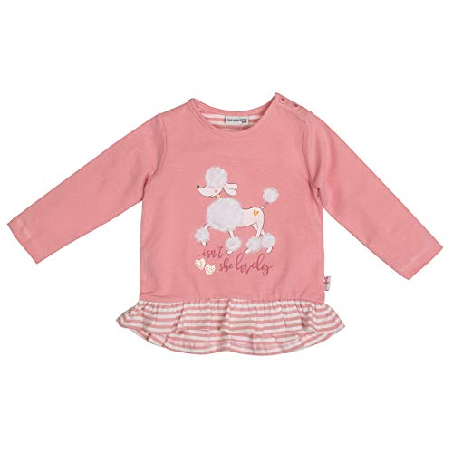 Salt & Pepper Baby-Mädchen Lovely Pudel Volant Pailletten Langarmshirt, Rosa (Dusty Pink 824), (Herstellergröße: 74)