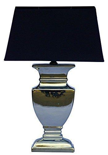DRULINE Silver Lady 59 cm Tischlampe SCHWARZ Shabby Chic Tischleuchte Silber Keramiklampe