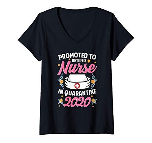 Womens Nursing Gift Promoted to Retired Nurse in Quarantine 2020 V-Neck T-Shirt