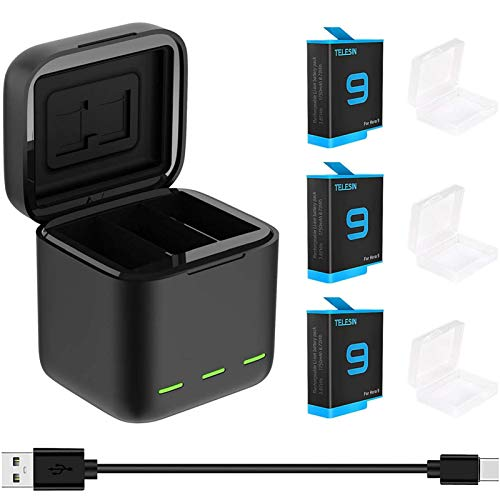TELESIN Cargador de batería para GoPro Hero 10 9 Negro, Cargador portátil Lector de Tarjetas SD Almacenamiento de Carga de batería de 3 Canales con Paquete de 3 baterías Hero 10 9 Kit de Accesorios