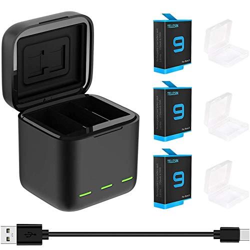 TELESIN Batterieladegerät akku Fuer Go Pro Hero 9 Schwarzes, tragbares Ladegerät SD-Kartenleser 3-Kanal-Batterieladespeicher mit 3er-Pack Ersatzakkus für Akkus
