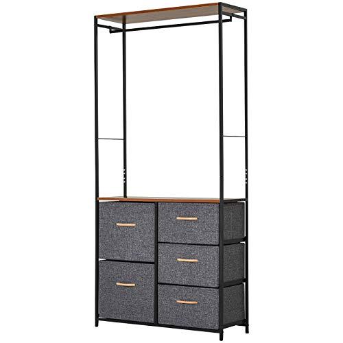 HOMCOM Garderobenständer mit 5 Schubladen und Kleiderstange, Aufbewahrungsregal, Stahl, Grau, 83 x 28 x 175 cm