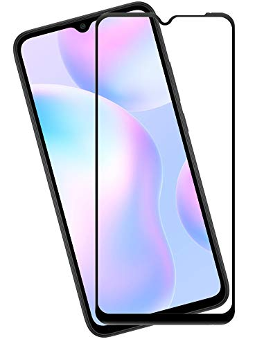 Efficia Full Protection Tempered Glass for Mi Redmi 9 Prime Top Notch Edge to Edge Full Screen Coverage [Anti-Scratch] [Gorilla] [Free Cleaning Kit Included] - Black