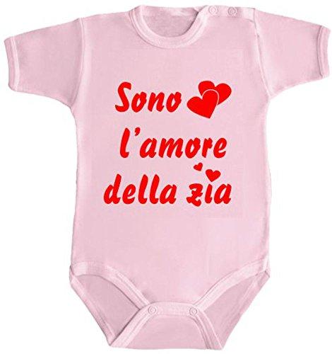 Body Bimbo Bimba Neonato Pigiama - Sono L'Amore della Zia Humor Divertenti Infanzia Nascita Made in Italy (3 Mesi, Rosa)