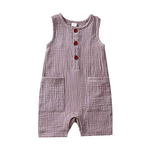 squarex ® Baby Home Kleidung, Neugeborene Baby Mädchen Jungen Massiv Leinen Strampler Jumpsuit mit Taschen Outfits Komfortable Kletter Strampler Top
